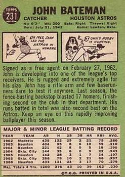 1967 Topps #231 John Bateman back image