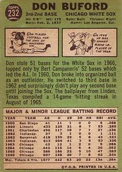 1967 Topps #232 Don Buford back image
