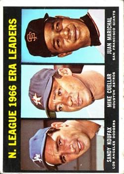 1967 Topps #234 NL ERA Leaders/Sandy Koufax/Mike Cuellar/Juan Marichal