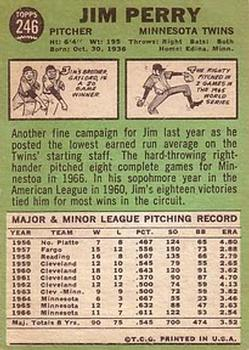 1967 Topps #246 Jim Perry back image