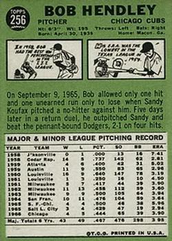 1967 Topps #256 Bob Hendley back image