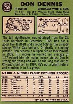 1967 Topps #259 Don Dennis back image