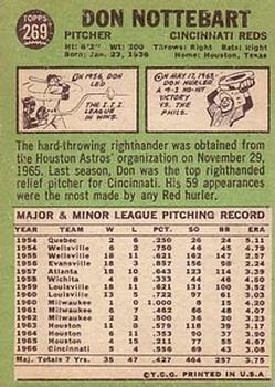 1967 Topps #269 Don Nottebart back image
