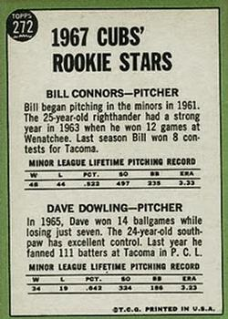 1967 Topps #272 Rookie Stars/Bill Connors RC/Dave Dowling back image