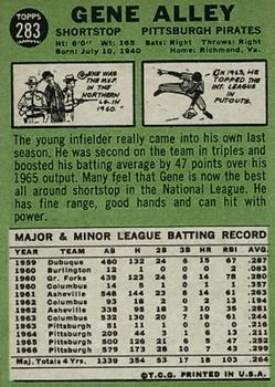 1967 Topps #283 Gene Alley back image