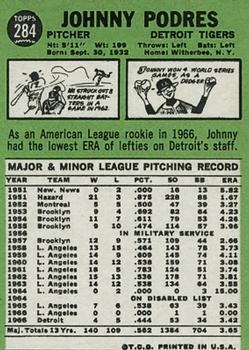 1967 Topps #284 Johnny Podres back image