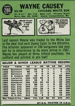 1967 Topps #286 Wayne Causey back image