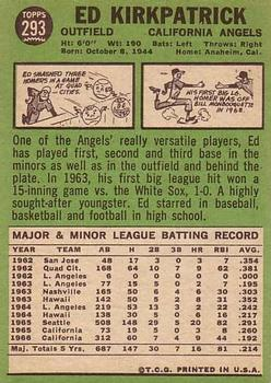 1967 Topps #293 Ed Kirkpatrick back image