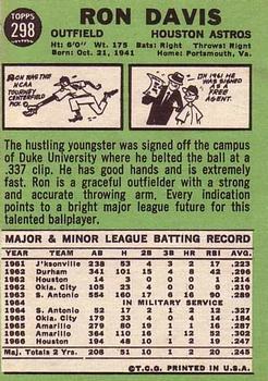 1967 Topps #298 Ron Davis RC back image