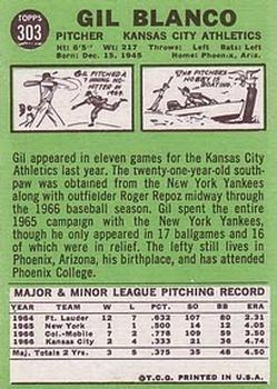 1967 Topps #303 Gil Blanco back image