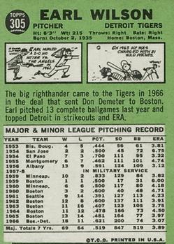 1967 Topps #305 Earl Wilson back image