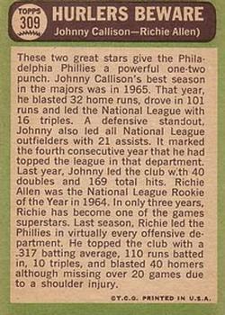 1967 Topps #309 Hurlers Beware/Johnny Callison/Richie Allen back image
