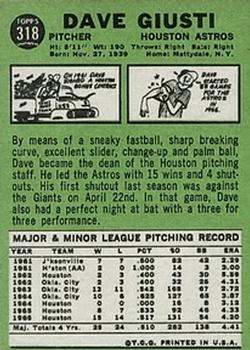 1967 Topps #318 Dave Giusti back image