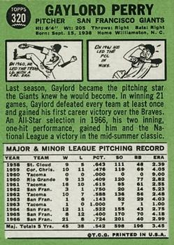 1967 Topps #320 Gaylord Perry back image
