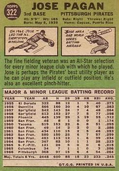 1967 Topps #322 Jose Pagan back image