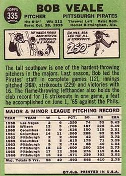 1967 Topps #335 Bob Veale back image