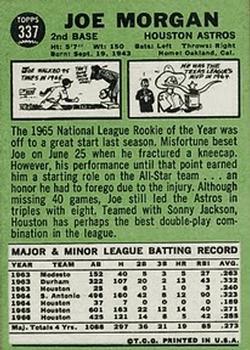 1967 Topps #337 Joe Morgan back image