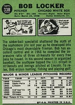 1967 Topps #338 Bob Locker back image