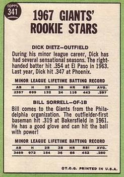 1967 Topps #341 Rookie Stars/Dick Dietz RC/Bill Sorrell back image