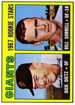1967 Topps #341 Rookie Stars/Dick Dietz RC/Bill Sorrell