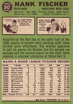 1967 Topps #342 Hank Fischer back image
