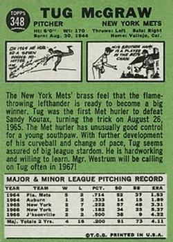 1967 Topps #348 Tug McGraw back image