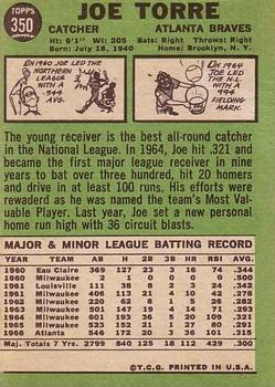 1967 Topps #350 Joe Torre back image