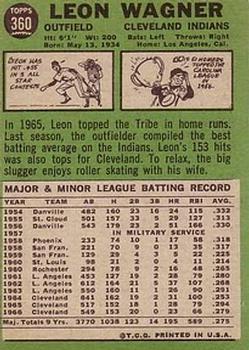 1967 Topps #360 Leon Wagner back image