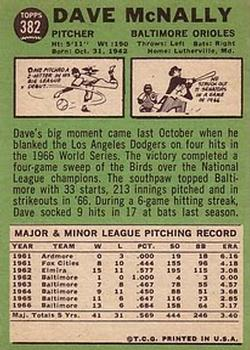 1967 Topps #382 Dave McNally back image