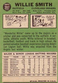 1967 Topps #397 Willie Smith DP back image