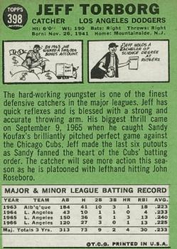 1967 Topps #398 Jeff Torborg back image