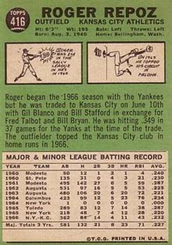 1967 Topps #416 Roger Repoz back image