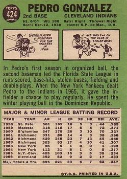 1967 Topps #424 Pedro Gonzalez back image