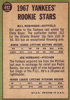 1967 Topps #442 Rookie Stars/Bill Robinson RC/Joe Verbanic RC DP back image
