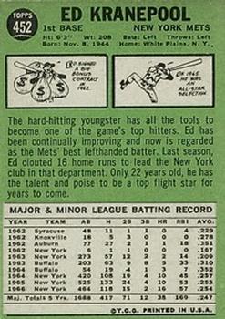1967 Topps #452 Ed Kranepool back image