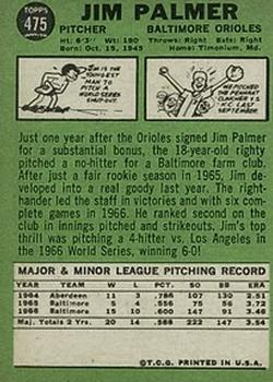 1967 Topps #475 Jim Palmer back image