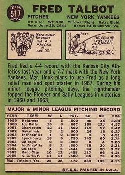 1967 Topps #517 Fred Talbot back image