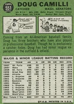 1967 Topps #551 Doug Camilli DP back image