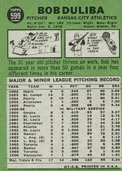 1967 Topps #599 Bob Duliba DP back image