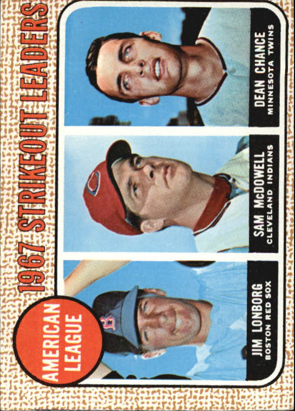 1968 Topps #12 AL Strikeout Leaders/Jim Lonborg UER/Misspelled Longberg/on card back/Sam McDowell/Dean Chance