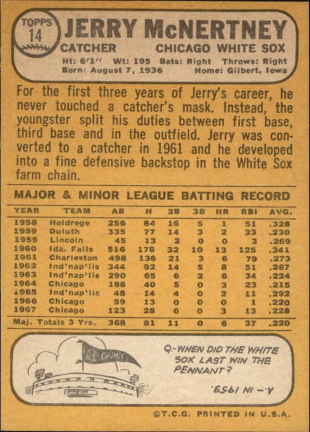 1968 Topps #14 Jerry McNertney back image