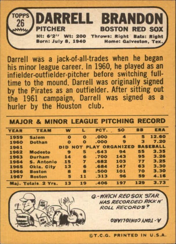 1968 Topps #26 Darrell Brandon back image