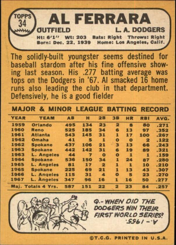 1968 Topps #34 Al Ferrara back image