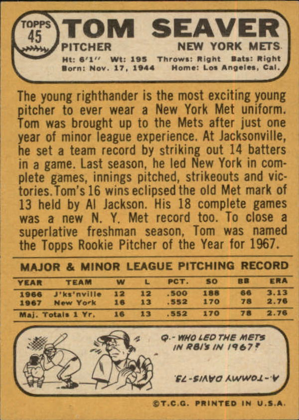 1968 Topps #45 Tom Seaver back image