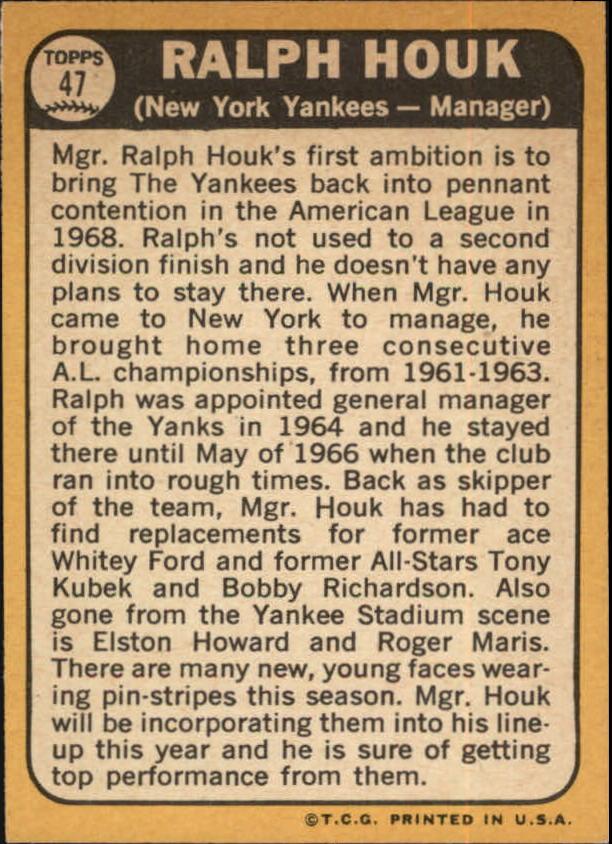 1968 Topps #47 Ralph Houk MG back image