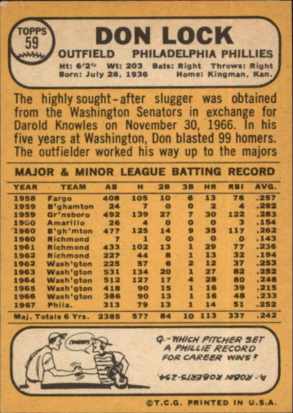 1968 Topps #59 Don Lock back image