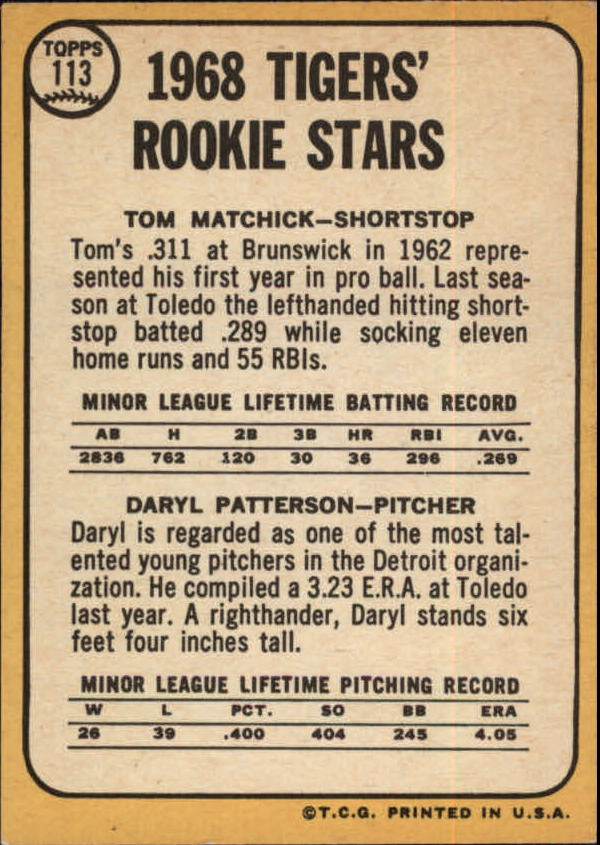 Detroit RC 1968 Topps #113 Tom Matchick Daryl Patterson Tigers Rookie Stars