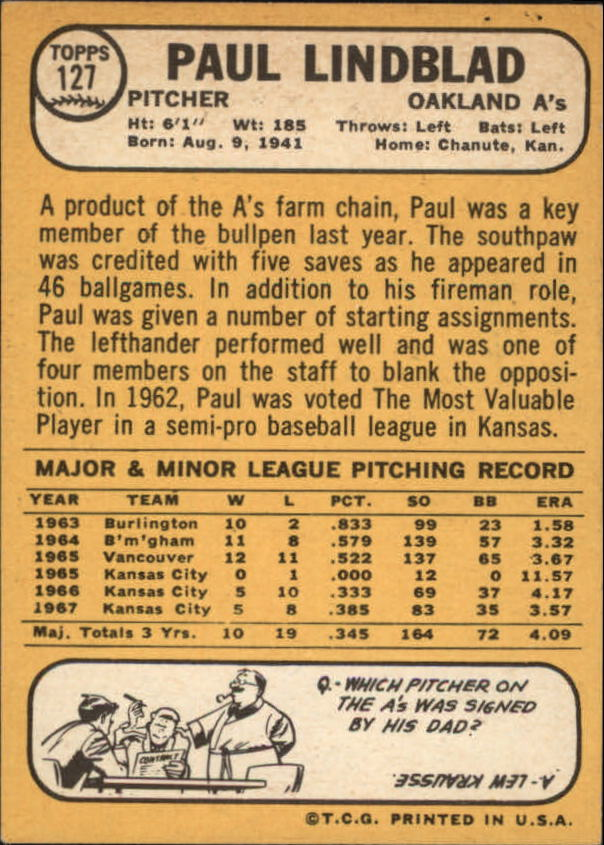 1968 Topps #127 Paul Lindblad back image