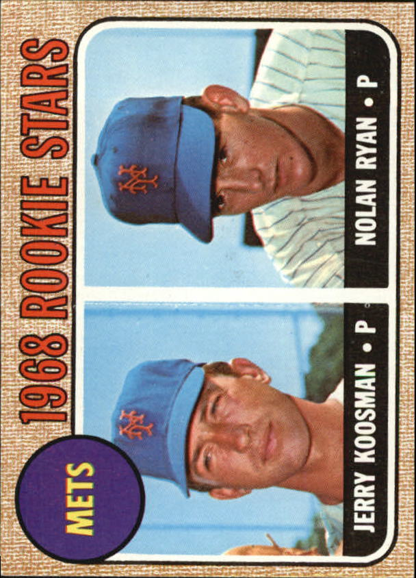 1968 Topps #177 Rookie Stars/Jerry Koosman RC/Nolan Ryan RC/UER Sensational/is spelled incorrectly