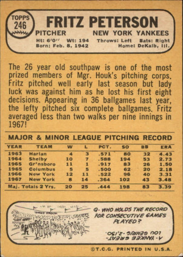 1968 Topps #246 Fritz Peterson back image
